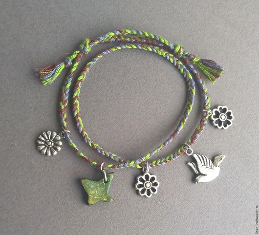 Браслет Зеленый Лес. Зеленый браслет с металлическими бусинами хендмейд. Ручная работа. Handmade.