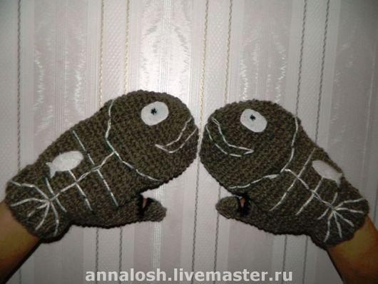 """Варежки, митенки, перчатки ручной работы. Ярмарка Мастеров - ручная работа. Купить Варежки-перчатки """"Ловись, рыбка!"""". Handmade. Комбинированный"""