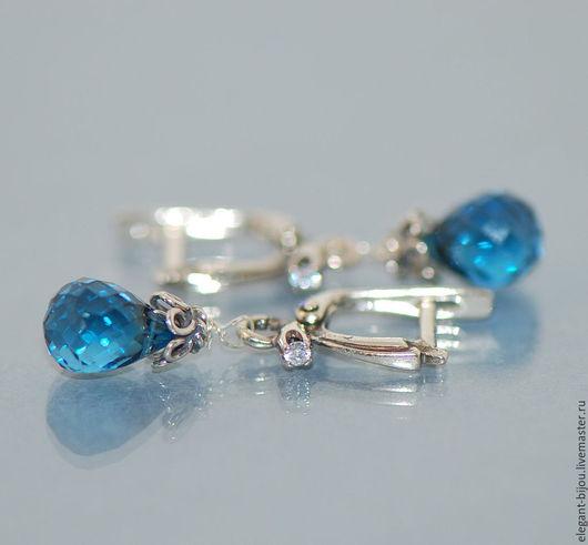 серьги с топазами; серебряные серьги купить; серебряные серьги с топазами; топазы лондон блю; серьги с топазами London blue; подарок для любимой; серьги для любимой