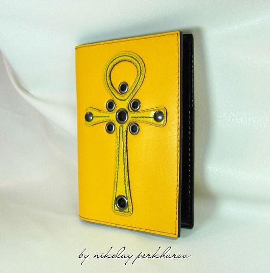 """Обложки ручной работы. Ярмарка Мастеров - ручная работа. Купить ОБЛОЖКА ДЛЯ ПАСПОРТА """" ANKH """" ( yellow ) НАТУРАЛЬНАЯ КОЖА. Handmade."""