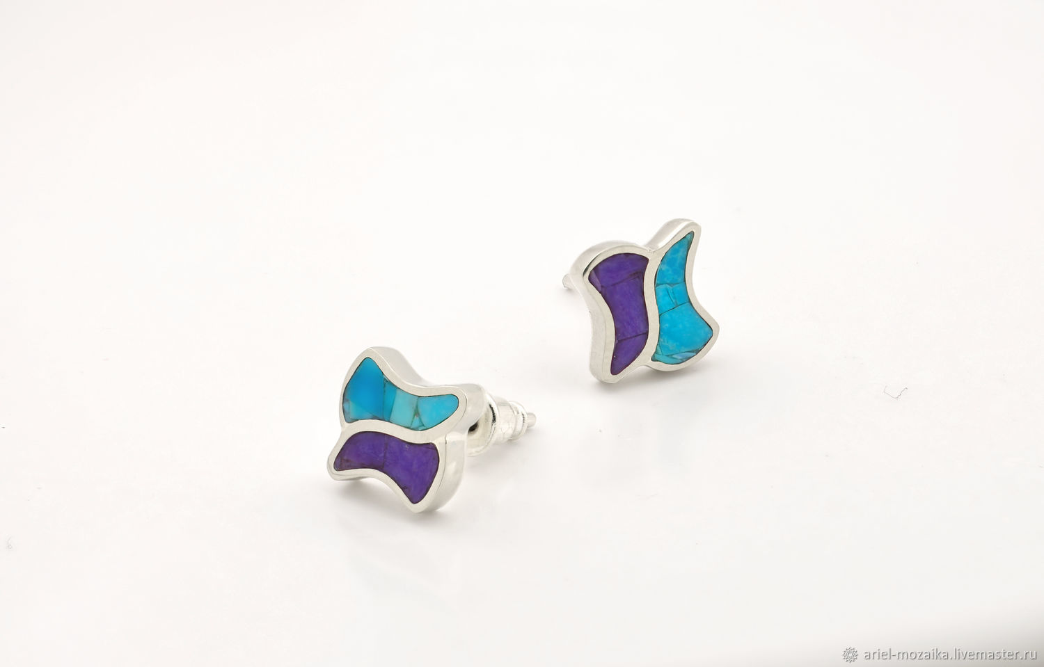 earrings studs. Turquoise and Charoite. Silver stud earrings, Stud earrings, Moscow,  Фото №1