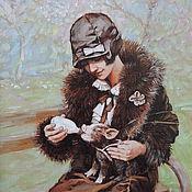 Картины и панно ручной работы. Ярмарка Мастеров - ручная работа Девушка с поросенком. Handmade.