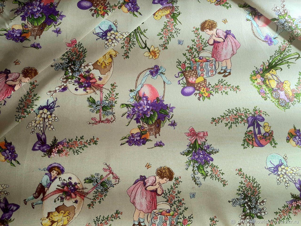 Уценка! Пасхальная  ткань 100% хлопок для шитья саржа рогожка, Ткани, Иваново,  Фото №1