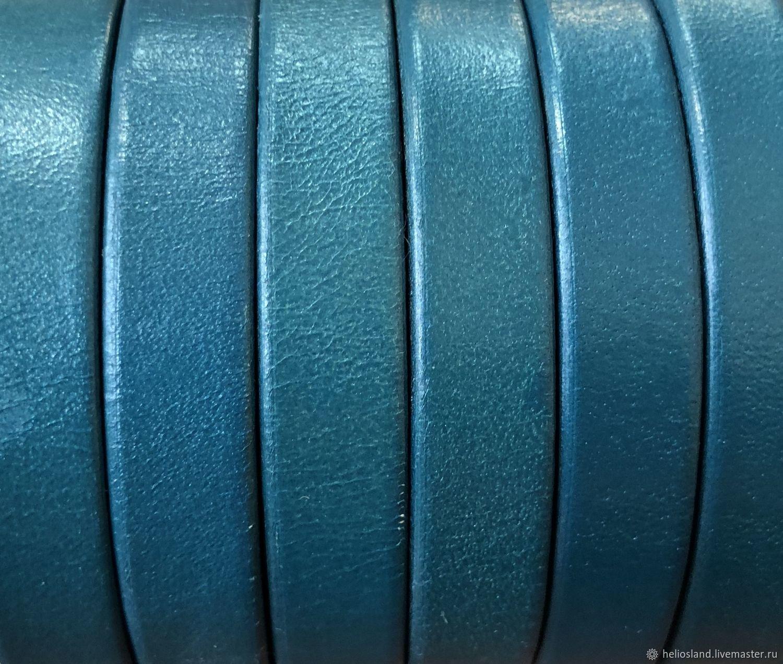 Кожаный шнур плоский 10 мм бирюза  металлик, Шнуры, Москва,  Фото №1