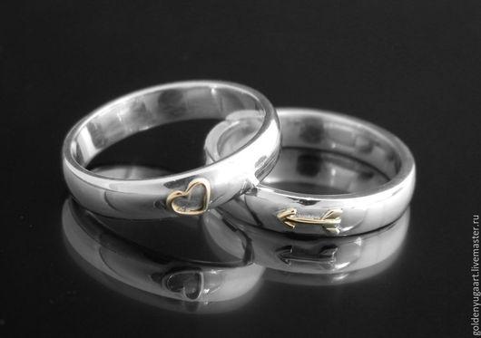 Кольца ручной работы. Ярмарка Мастеров - ручная работа. Купить Обручальные кольца Купидон, белое золото 585 пробы. Handmade.