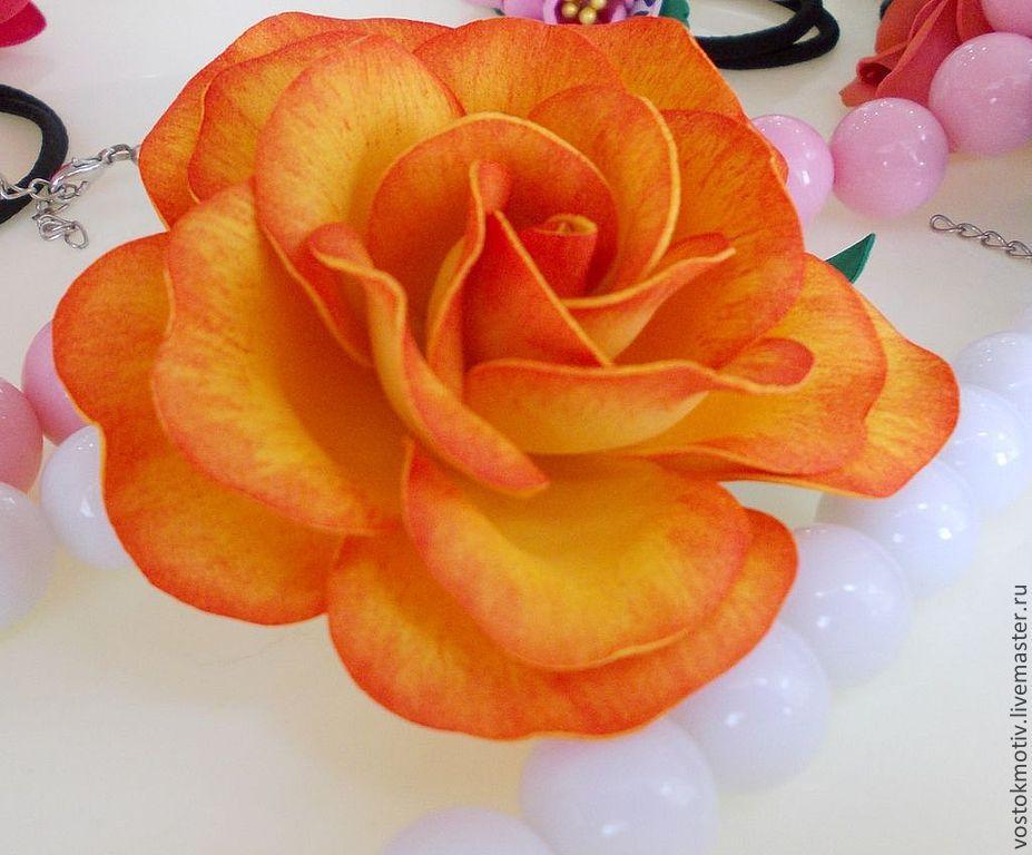 Роза на зажиме из фоамирана, Заколки, Хабаровск, Фото №1