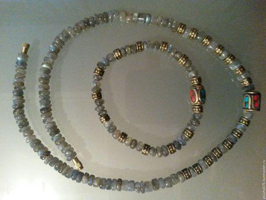 Колье, бусы ручной работы. Ярмарка Мастеров - ручная работа. Купить бусы и браслет из лабрадора. Handmade. Натуральный камень