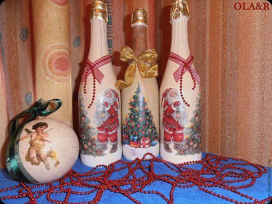 Кухня ручной работы. Ярмарка Мастеров - ручная работа. Купить Бутылка новогодняя. Handmade. Бутылка декоративная, акриловые краски