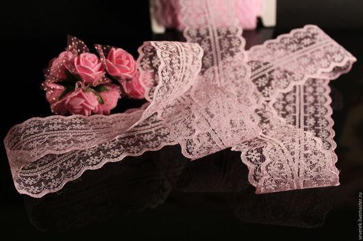 Шитье ручной работы. Ярмарка Мастеров - ручная работа. Купить Кружево Розовая нежность полиэстр. Handmade. Бледно-розовый