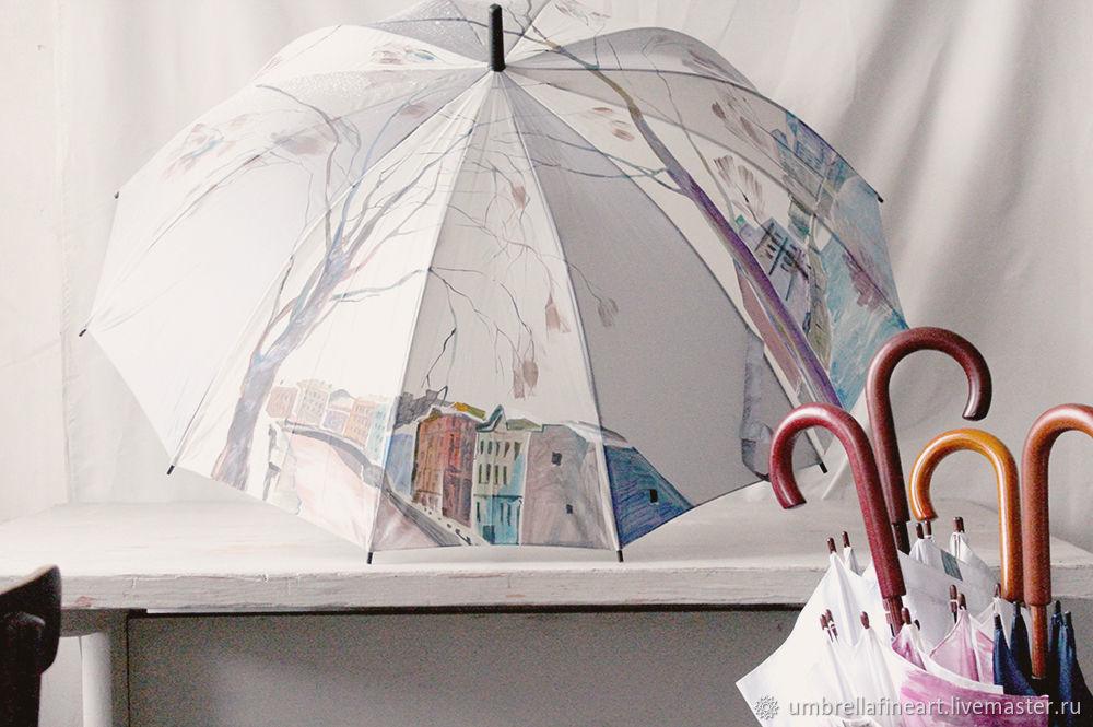 Зонты с ручной росписью виды Санкт-Петербурга, роспись зонтов, зонты с авторской росписью, зонт с городским пейзажем, студия росписи зонтов, магазин дизайнерских зонтов