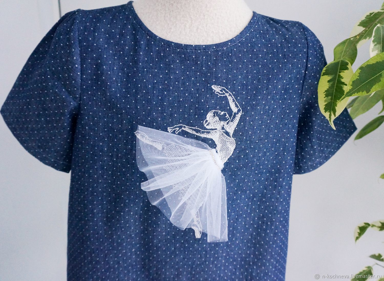 Платье с балериной джинсовое