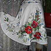 "Одежда ручной работы. Ярмарка Мастеров - ручная работа льняная юбочка ""ЦВЕТОЧНЫЙ ВАЛЬС""""ручная вышивка. Handmade."