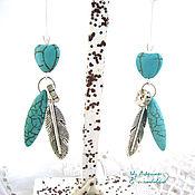 Украшения handmade. Livemaster - original item Turquoise earrings Feather Blue bird. Handmade.