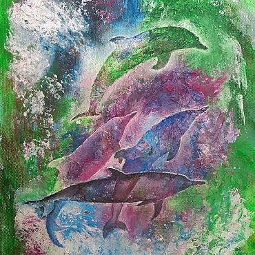 """Картины и панно ручной работы. Ярмарка Мастеров - ручная работа Картина с дельфинами """"Дельфины"""" - картина акрилом. Handmade."""