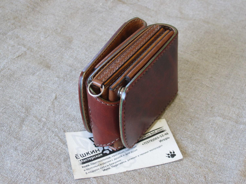 Compact wallet S-Fold Brown-cardholder. Purse on the belt, Wallets, Nizhnij Tagil,  Фото №1