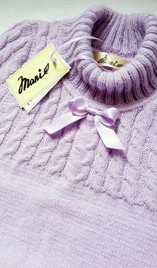 Одежда для девочек, ручной работы. Ярмарка Мастеров - ручная работа. Купить Нарядный лавандовый свитер с бантом для девочки. Handmade.
