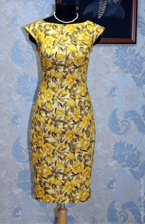 """Платья ручной работы. Ярмарка Мастеров - ручная работа. Купить Платье футляр """"Первоцветы"""". Handmade. Футляр, цветочный, желтый"""