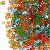 Бисер ручной работы. Ярмарка Мастеров - ручная работа Бисер Микс TOHO №3228 оранжево-зелено-голубой TOHO Beads 10гр. Handmade.