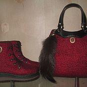 """Обувь ручной работы. Ярмарка Мастеров - ручная работа Валяные ботинки и сумка """"Клюква"""". Handmade."""
