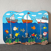 """Для дома и интерьера ручной работы. Ярмарка Мастеров - ручная работа Вешалка """"Море"""" (набор-раскраска) с красками и контуром рисунка. Handmade."""