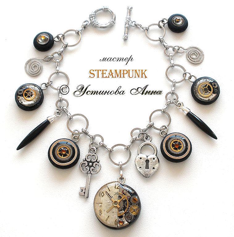 Стимпанк браслет, браслет в стиле Стимпанк,часы/ Steampunk, Украшения субкультур, Санкт-Петербург,  Фото №1