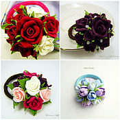 Украшения handmade. Livemaster - original item Hair bands with flowers. Flowers from polymer clay.. Handmade.