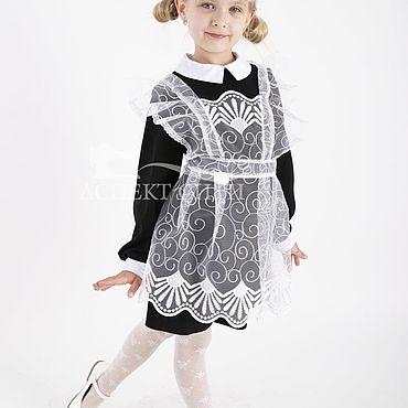 Товары для малышей ручной работы. Ярмарка Мастеров - ручная работа Комплект платье с фартуком, 15-080ч (черное платье и белый фартук). Handmade.