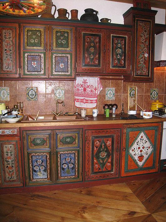 Мебель ручной работы. Ярмарка Мастеров - ручная работа. Купить Кухня в русском стиле. Handmade. Мебель, темпера, сосна