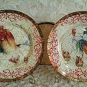 """Посуда ручной работы. Ярмарка Мастеров - ручная работа Набор тарелок """"Петушки""""!!!. Handmade."""