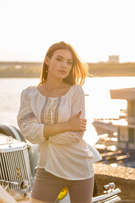 Хлопковая блуза с вышивкой, Народные рубахи, Дзержинск,  Фото №1