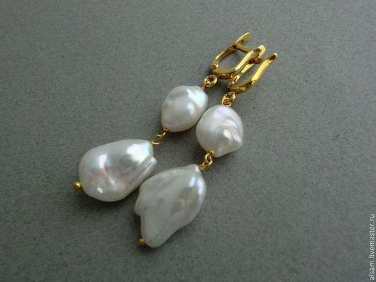 """Серьги ручной работы. Ярмарка Мастеров - ручная работа. Купить серьги """"Baroque Pearl II"""". Handmade. Белый, белоснежный жемчуг"""