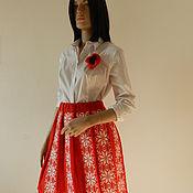 Одежда ручной работы. Ярмарка Мастеров - ручная работа Юбка Красно-белая складочка. Handmade.