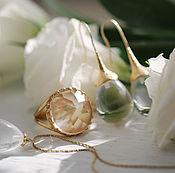 Украшения ручной работы. Ярмарка Мастеров - ручная работа Круглое позолоченное кольцо с горным хрусталем. Handmade.