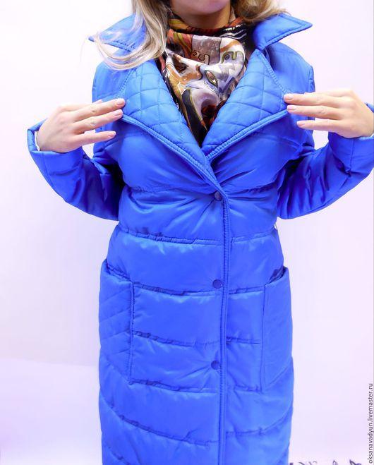 Верхняя одежда ручной работы. Ярмарка Мастеров - ручная работа. Купить Пуховое пальто wonderful freshness. Handmade. Тёмно-синий