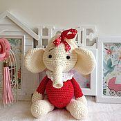 Мягкие игрушки ручной работы. Ярмарка Мастеров - ручная работа Мягкие игрушки: слоник с красным бантом. Handmade.