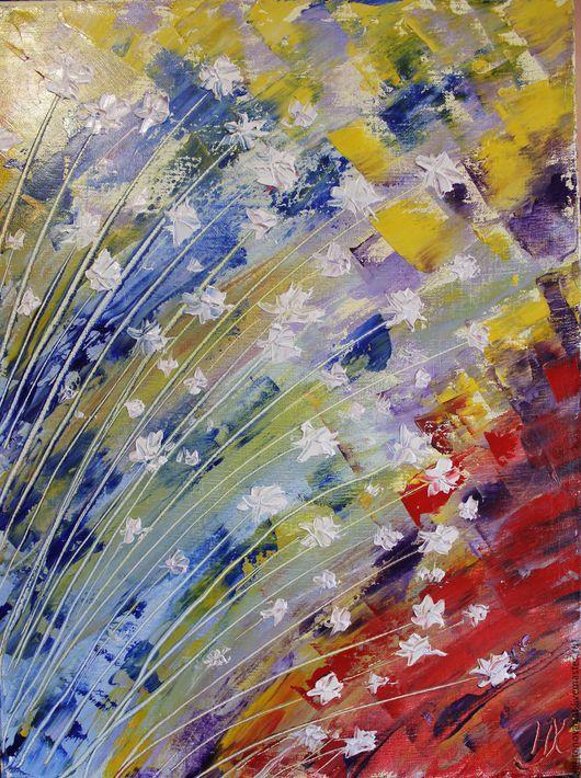 """Абстракция ручной работы. Ярмарка Мастеров - ручная работа. Купить """"Ниже травы. Летнее утро."""". Handmade. Разноцветный, цветы"""
