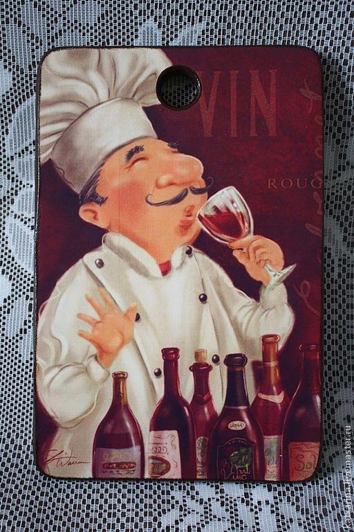 """Кухня ручной работы. Ярмарка Мастеров - ручная работа. Купить Разделочная доска """"Повар-сомелье"""". Handmade. Бордовый, бук"""