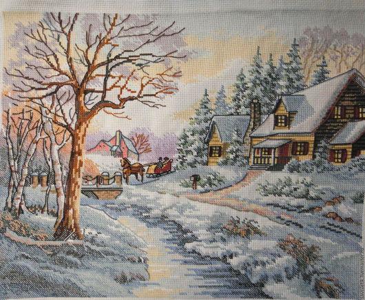 """Пейзаж ручной работы. Ярмарка Мастеров - ручная работа. Купить """"Зима"""" вышитая картина. Handmade. Комбинированный, картина на заказ"""