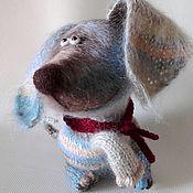 Мягкие игрушки ручной работы. Ярмарка Мастеров - ручная работа Голубой Щенок - вя3аный, пушистый, очень добрый. Handmade.