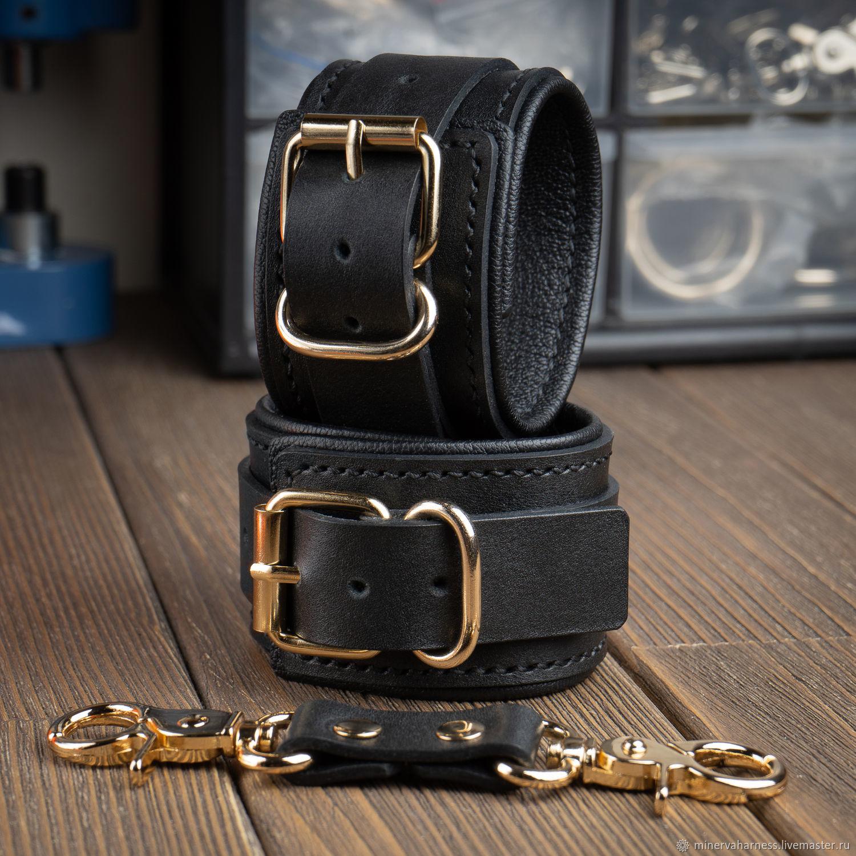 BDSM handcuffs CLASSIC BLACK-n-GOLD, Subculture Attributes, Saratov,  Фото №1