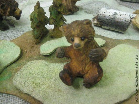 Игрушки животные, ручной работы. Ярмарка Мастеров - ручная работа. Купить Медвежонок- резьба по дереву. Handmade. Коричневый, деревянные фигурки