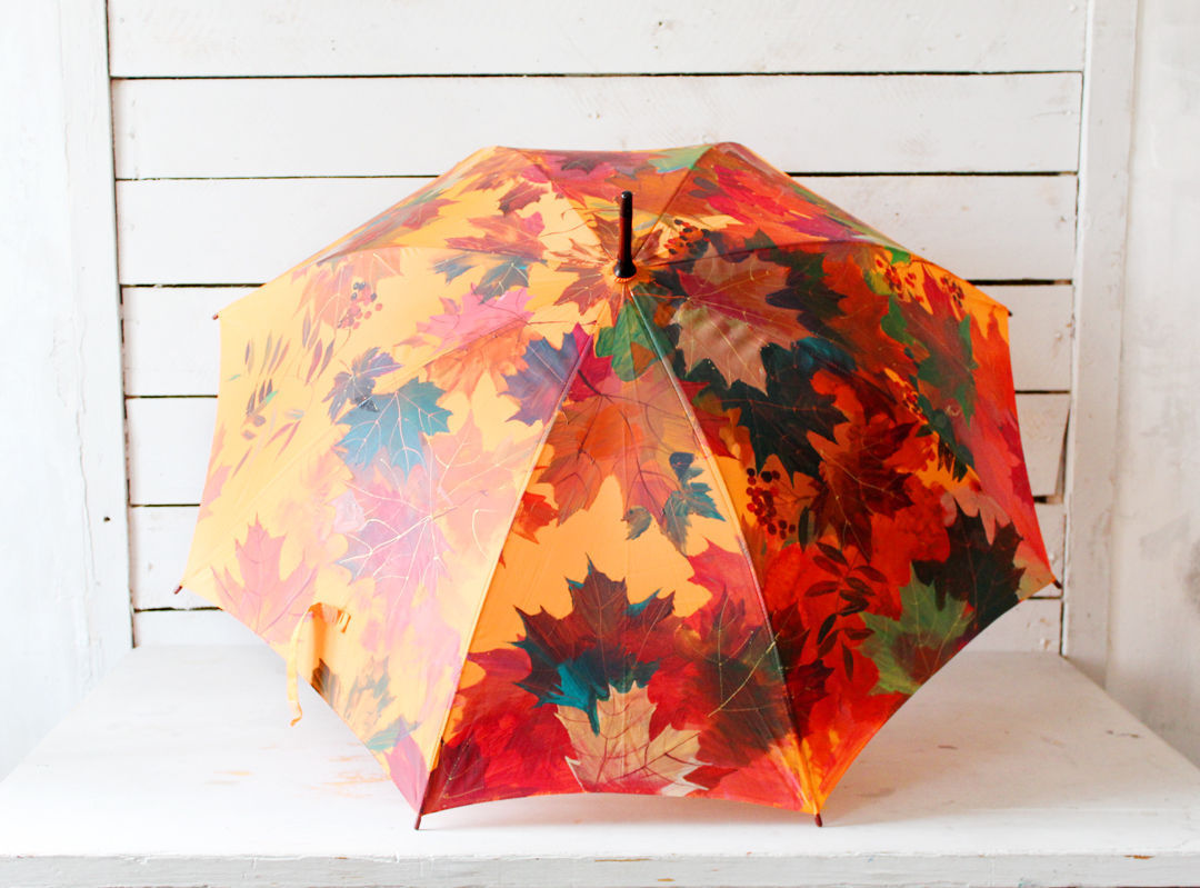 Umbrella with hand-painted Autumn maple and Rowan, Umbrellas, St. Petersburg,  Фото №1