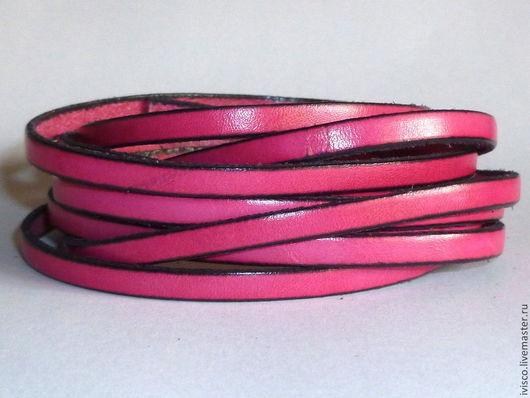 Для украшений ручной работы. Ярмарка Мастеров - ручная работа. Купить Кожаный шнур 5х2мм  ярко-розовый матовый. Handmade.