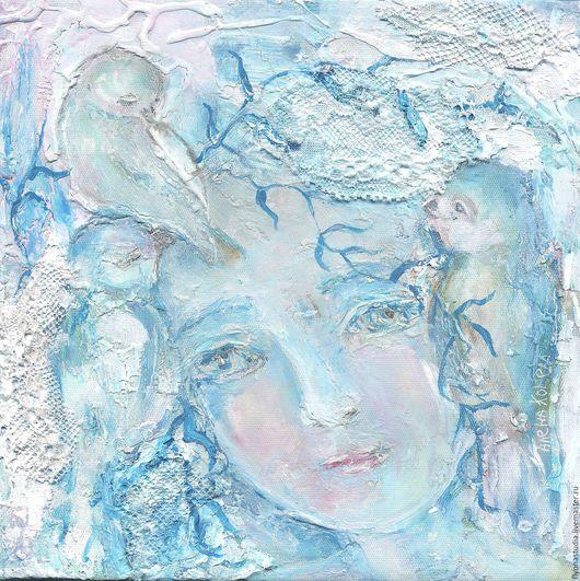 Сказочная картина `Ивушка` о деве-дереве на краю пруда. Акрил, холст, объемная техника. Сказка в теплоте рук Алены Коневой