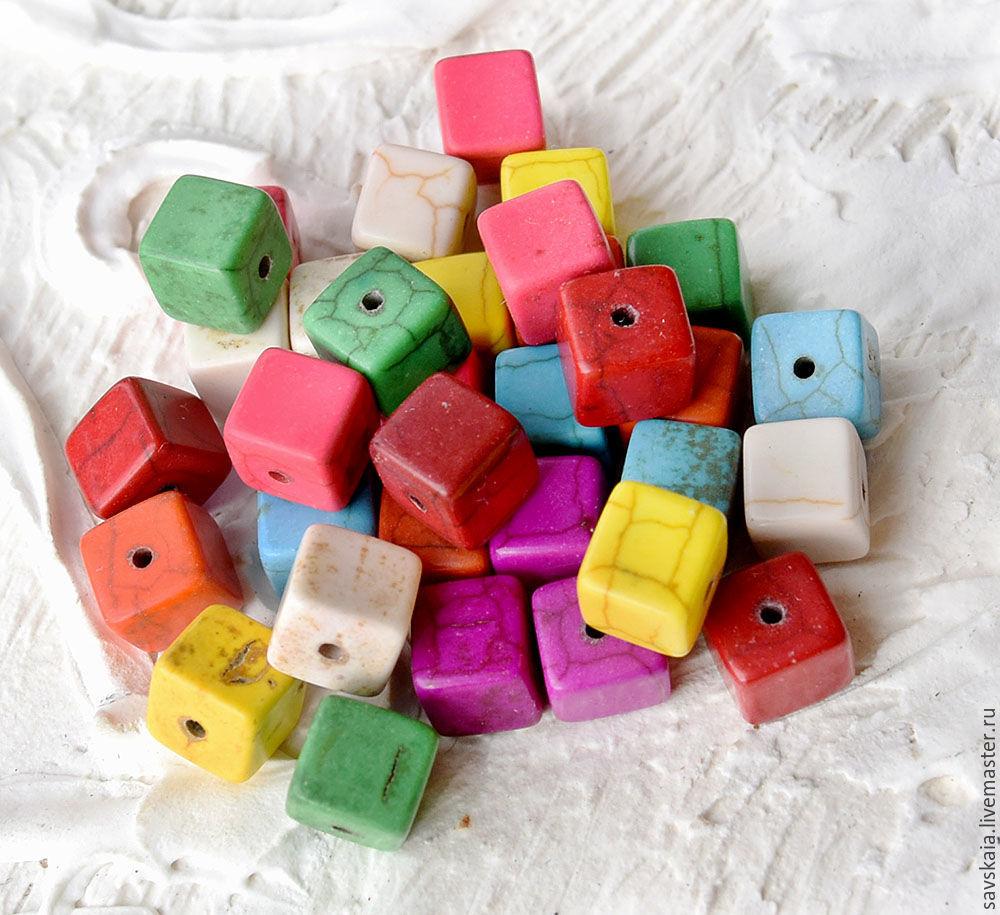 Бусины говлит под бирюзу, куб, смешанные с узором трещина