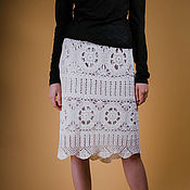 Одежда ручной работы. Ярмарка Мастеров - ручная работа Вязаная крючком юбка Белый оникс. Handmade.