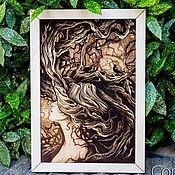 """Pictures handmade. Livemaster - original item Деревянное панно, картина """"Лесная нимфа""""  Гравировка. Handmade."""