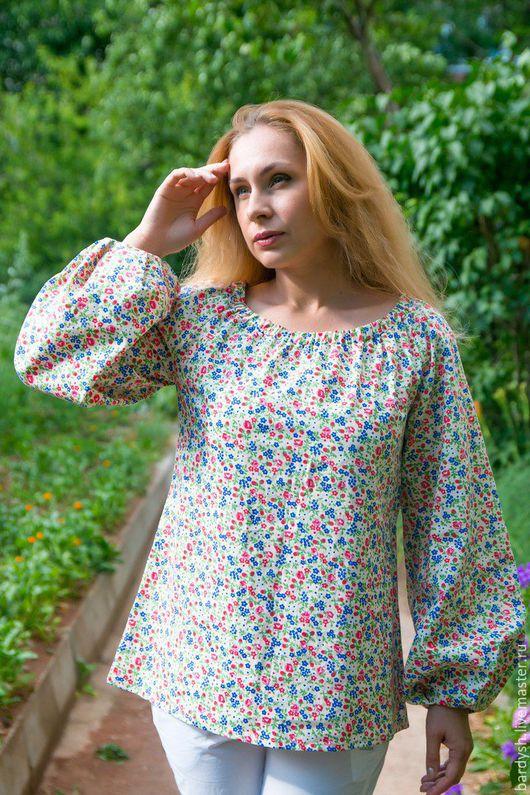 Блузки ручной работы. Ярмарка Мастеров - ручная работа. Купить Блуза из хлопка. Handmade. Бежевый, с широкими рукавами