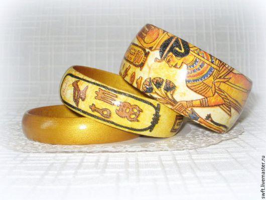 золотой желтый роскошный женский недорогой деревянный браслет кулон Египет недорого подарок что подарить девушке женщине сестре подруге маме жене на 8 марта день рождения дерево