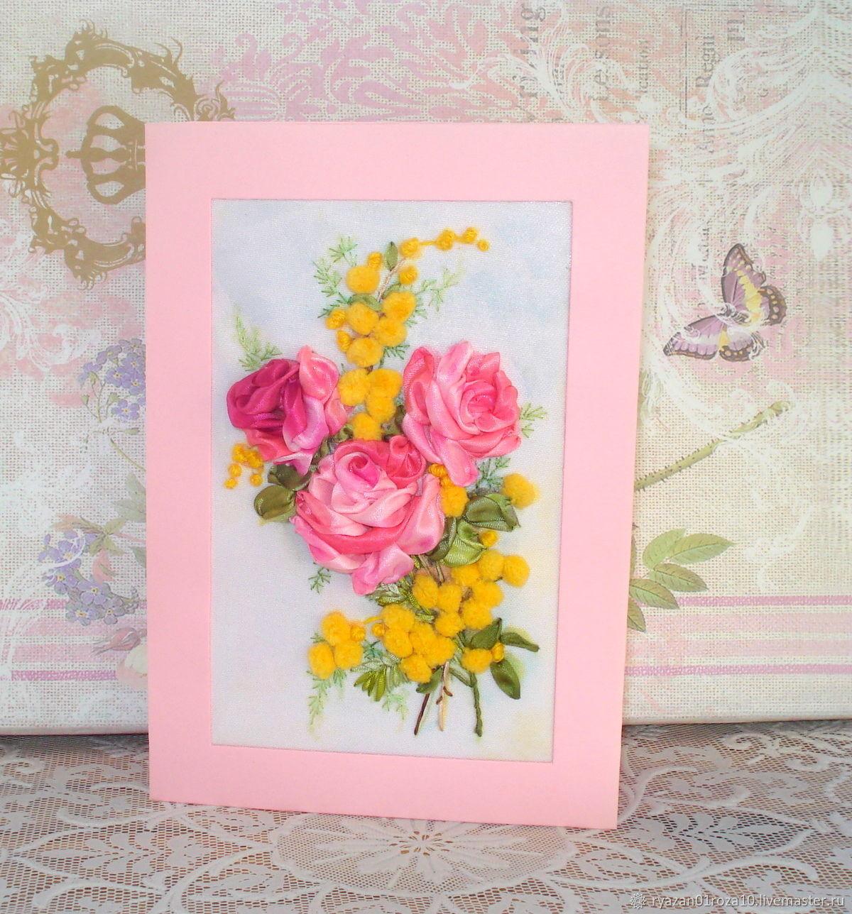 Занятия аппликации, украсить на открытке из роз
